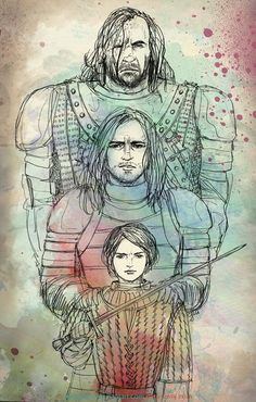 Arya Stark, Jaqen H'ghar & The Hound - Game Of Thrones