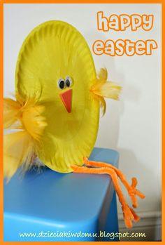 kurczaczek z papierowego talerzyka - wielkanocna praca plastyczna dla dzieci
