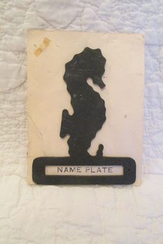 Vintage Seahorse Name Plate by rarefinds4u on Etsy