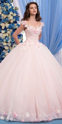 Wedding Dresses Ball Gown, Exquisite Tulle Sheer Jewel Neckline Ball Gown Wedding Dress With Lace Appliques & Flowers & Beadings MagBridal Xv Dresses, Cute Prom Dresses, Pink Wedding Dresses, Quince Dresses, Ball Dresses, Pretty Dresses, Bridal Dresses, Gown Wedding, Light Pink Quinceanera Dresses