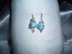 Chaos Wire Wrapped Earrings with Lite Blue Glass Beads