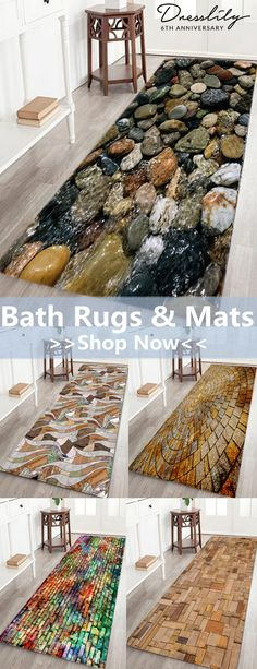 Up to 50% off!! Free shipping worldwide.Sea Stone Pattern Indoor Outdoor Area Rug. #dresslily #bathrug #homedecor