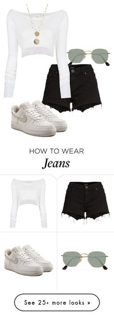"""Untitled #23525"" by florencia95 on Polyvore featuring Hudson Jeans, Lost & Found, NIKE and Ray-Ban"