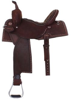 Brown rough out saddle with subtle details. www.doublejsaddlery.com