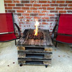 Gas fire pit built into a pallet table. Fire pit ideas.