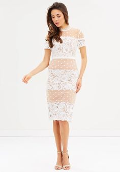 Ava Midi Dress. A beautiful midi length dress by Love Honor. This high neck style features contrasting corded lace and a flocked spot mesh fabric.