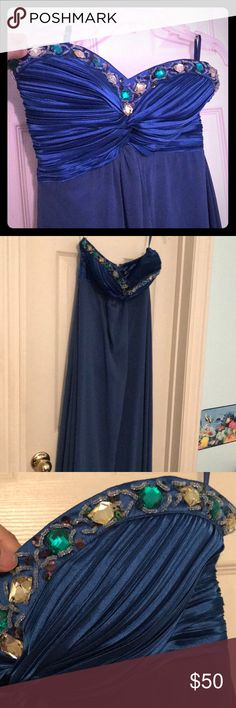 Blue Prom Dress Size: 6 Beautiful Blue Prom Dress. Pictures a lot brighter than pictres (acual photos included). Detailing on bust and chiffon surroundings! Worn once Dresses Prom