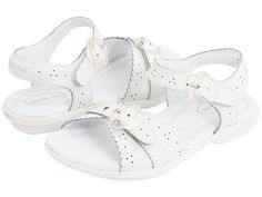 Stride Rite: Butterscotch (White) Toddler/Little Kid The Stride Rite Butterscotch is a great every- sandal style for girls who love that cool, crisp classic look that a white sandal brings. They can easily go dressy or can coordinate with any summer fashion for a more casual, everyday look. Velcro/Faux buckle ankle strap is easy for kids to operate and flexible rubber sole makes these the perfect comfortable warm weather shoe.