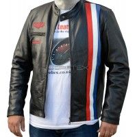Steve McQueen GRAND PRIX HEUER Black Leather Jacket