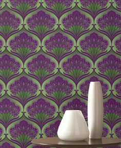 £57.44 Price per roll (per m2 £10.98), Retro wallpaper, Carrier material: Non-woven wallpaper, Surface: Smooth, Look: Shimmering, Design: Floral damask, Basic colour: Yellow green, Pattern colour: Dark violet, Pearl violet, Characteristics: Good lightfastness, Low flammability, Strippable, Paste the wall, Wash-resistant