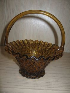Indiana Fenton? Amber Glass Basket Candy Dish Handle Ruffle Rim Diamond Quilt  #InidianaFentonGlass