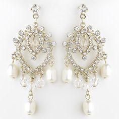 Gold Freshwater Pearl & Swarovski Crystal Bead Dangle Chandelier Earrings 9683
