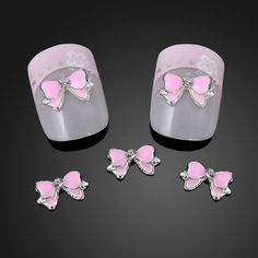 10PCS Hot 3D Alloy Nail Rhinestone 3D nails art Pink Bow Tie Butterfly Nail Art Decoration Stickers DIY ~NA872