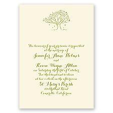 Whimsical Tree Ecru Wedding Invitation
