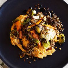 Roasted brussels sprouts, carrot, cauliflower lentils with kumara puree