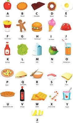 Icons of Alphabet with Food