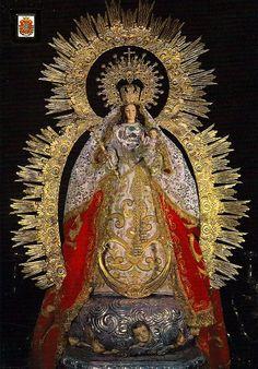 Virgen de Montemayor. Moguer (Huelva) Spain Religious Icons, Religious Art, Verge, Lady Of Mount Carmel, La Madone, Vintage Holy Cards, Our Lady Of Sorrows, Joseph, Church Pictures