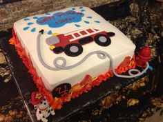 - Buttercream with fondant details. Truck Birthday Cakes, Birthday Fun, Birthday Ideas, Fire Fighter Cake, Fireman Cake, Bithday Cake, Firefighter Birthday, Occasion Cakes, Cake Designs