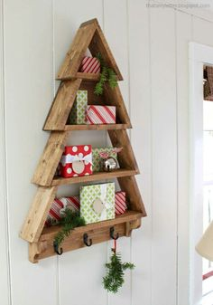 Wooden Christmas tree with shelves and hooks More