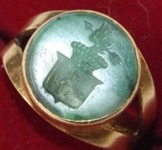 Antique Carved Jade Wax Seal Mounted 18ct Gold Ring Armorial 9g Not Scrap