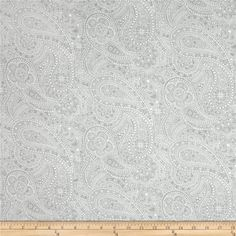 "108"" Wide Quilt Back Chelsea Dot Paisley Light Grey from @fabricdotcom  This 108'' wide quilt backing features an all over paisly and polka dot pattern. It is perfect for quilt backing, duvets, light curtains and more!"