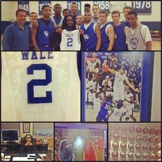 Rapper Wale visited the UK basketball team when he was in town to perform at Rupp Arena. Coach Cal presented him with an honorary jersey. Wale's song Varsity Blues mentions Calipari. Wale posted this picture to his Instagram account.