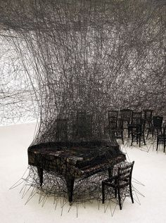 Installation by Chiharu Shiota. #music #art #installation #sculpture #piano