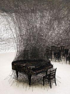 Installation by Chiharu Shiota. #music #art #installation #sculpture #piano