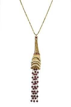BOUCHERON Frou Frou Pendant With Rubies and Tourmelines at 1stdibs