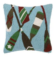 This wool hooked pillow in light blue would be a welcome addition to a cottage on the lake shore!