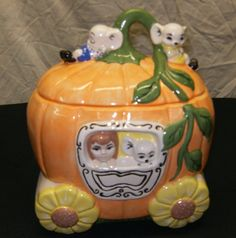 Cinderella Coach Cookie Jar w/MiceCeramic8L x by CeramicsbyKimi, $44.99
