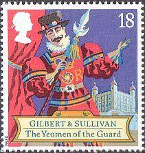 150th Birth Anniversary of Sir Arthur Sullivan (composer), Gilbert and Sullivan Operas 18p Stamp (1992) The Yeomen of the Guard