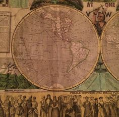 Orig Antique Pictorial Map The World at One View 1847 H Phelps by Ensign Thayer