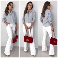 Pin by Estacao Store on camisa in 2019 Business Casual Outfits, Professional Outfits, Chic Outfits, Trendy Outfits, Fashion Outfits, Work Casual, Casual Chic, Casual Looks, White Pants Outfit