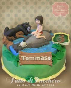 Some Cool The Jungle Book themed cakes / The Jungle Book cakes - Crust N Cakes Jungle Book Party, Jungle Cake, Disney Themed Cakes, Disney Cakes, Fondant Horse, Book Birthday Parties, Birthday Ideas, Baby Tarzan, Movie Cakes