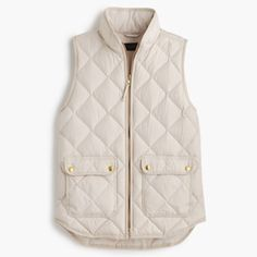 J.crew excursion puffer vest PRICE FIRM Price firm as I am selling for a friend.this vest is the current version and is $120 on jcrew right now.   DETAILS A lightweight down vest that's compact and easy to layer but still warm enough to keep chilly weather at bay. We made the sporty shape a bit more flattering with a slimmer silhouette and gold hardware. Down-filled poly. Pockets. Machine wash. Import. J. Crew Jackets & Coats Vests