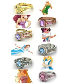Disney Inspired Rings from http://dragonfiretwistedwire.tumblr.com/tagged/ring%20design%20meme