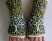 Superwash Wool Cherry Blossom Fingerless Gloves - Cream and Pink - Made to Order. $45.00, via Etsy.