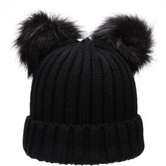 Women's Winter Chunky Knit Double Pom Pom Beanie Hat With MIRMARU Hair... ($13) ❤ liked on Polyvore featuring accessories, hats, beanie cap, pom beanie, pompom hat, thick knit beanie and pom pom hat