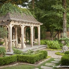 Beautiful Backyard Ideas and Garden Design Blending Classic English and French Styles beautiful backyard landscaping and garden design with gazebo Small Backyard Gardens, Small Backyard Landscaping, Outdoor Gardens, Backyard Ideas, Landscaping Ideas, Big Backyard, Formal Gardens, Luxury Landscaping, Rustic Backyard