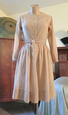 Tan Voile Polka Dotted Shirtwaist Dress Vintage 1980s -   http://www.dandelionvintage.com/feature20.html