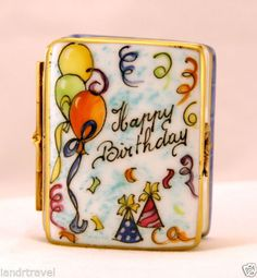 NEW HAND PAINTED FRENCH LIMOGES BOX HAPPY BIRTHDAY BOOK WITH BALLOONS & CAKE