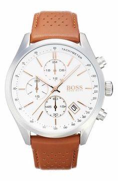 d075ab97f18 BOSS Grand Prix Leather Strap Chronograph Watch, 44mm Sort Læder, Ure Til  Mænd,