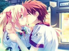 Couple Anime Kissing So Sweet