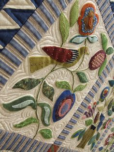 detail...close up wool applique beautiful