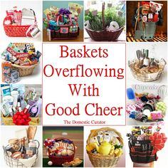 The Domestic Curator: Baskets Overflowing With Good Cheer! Often the best way to package good cheer is in a basket. The universal gift idea that everyone loves to receive! Good Cheer, Teacher Favorite Things, Food Gifts, Gift Baskets, Christmas Diy, Holiday, Great Gifts, Packaging, Good Things