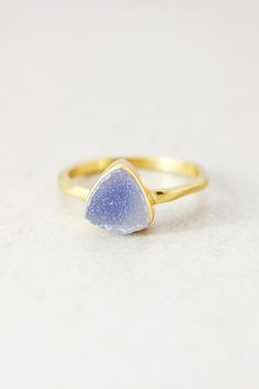 Smokey purple druzy ring, bezel set in hammered gold. Wear it on its own or stack it for subtle sparkle.