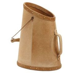 """Handcrafted cowhide bucket with two handles.   Product: BucketConstruction Material: CowhideColor: FallowDimensions: 20"""" H x 10.25"""" W x 14.5"""" D"""