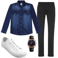 Combo masculino com Camisa Jeans, tenis branco e calça preta Terno Slim, Men Tumblr, Look Man, Elegant Man, Travel Style, Your Style, Plus Size, Street Style, Mens Fashion