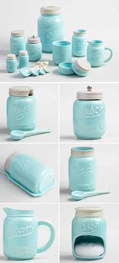 Bue Ceramic Mason Jar Collection
